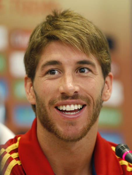 Spain soccer team defender Sergio Ramos speaks during a press conference in Kiev, Ukraine, Friday, June 29,2012. Spain reached the final of the Euro 2012 soccer championship. (AP Photo/Efrem Lukatsky)