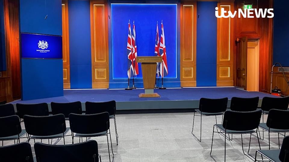 Undated handout photo issued by ITV News of Downing Street's new White-House style media briefing room, following criticism that more than ??2.6 million had been spent on the renovations. Issue date: Monday March 15, 2021.