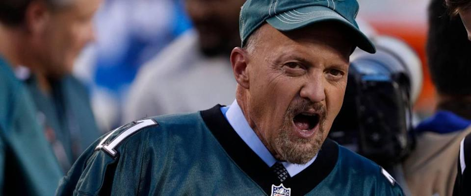 Jim Cramer yells at an NFL football game