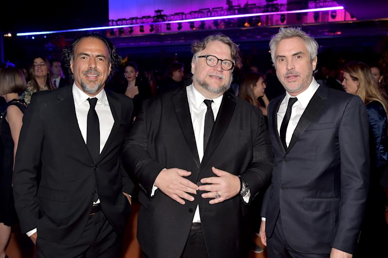 LOS ANGELES, CA - NOVEMBER 03: (L-R) Director Alejandro Gonzalez Inarritu, honoree Guillermo del Toro, wearing Gucci, and director Alfonso Cuaron attend 2018 LACMA Art + Film Gala honoring Catherine Opie and Guillermo del Toro presented by Gucci at LACMA on November 3, 2018 in Los Angeles, California. (Photo by Stefanie Keenan/Getty Images for LACMA)