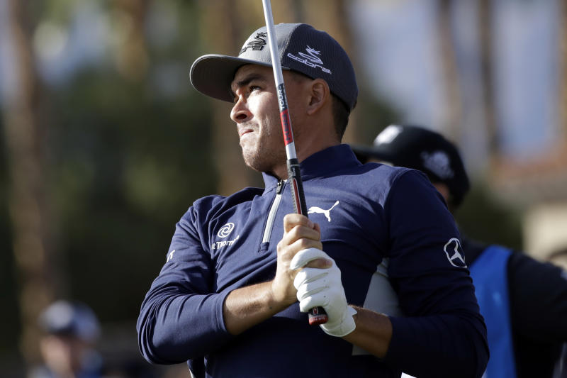 Rickie Fowler hits from the 12th tee during the second round of The American Express golf tournament on the Nicklaus Tournament Course at PGA West on Friday, Jan. 17, 2020, in La Quinta, Calif. (AP Photo/Marcio Jose Sanchez)