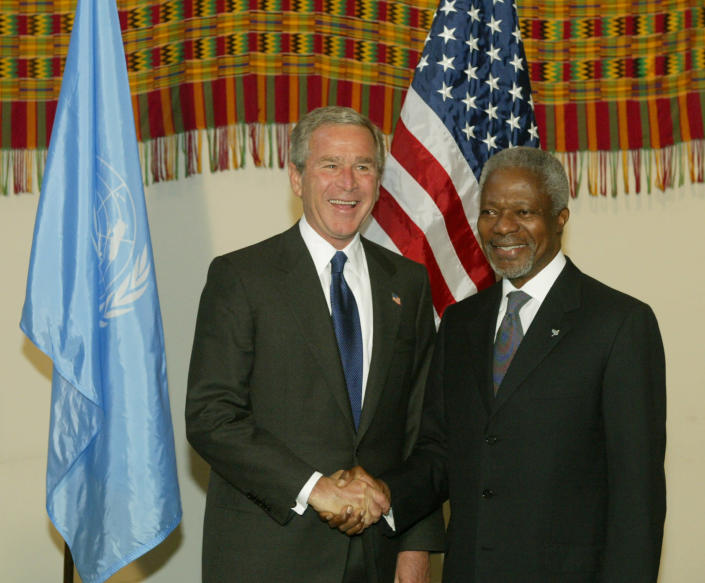 FILE - In this Tuesday, Sept. 21, 2004 file photo United Nations Secretary General Kofi Anna, right, greets United States President George Bush, before the opening of the UN General Assembly at the United Nations, in New York. Annan, one of the world's most celebrated diplomats and a charismatic symbol of the United Nations who rose through its ranks to become the first black African secretary-general, has died. He was 80. (AP Photo/Kathy Willens, File)