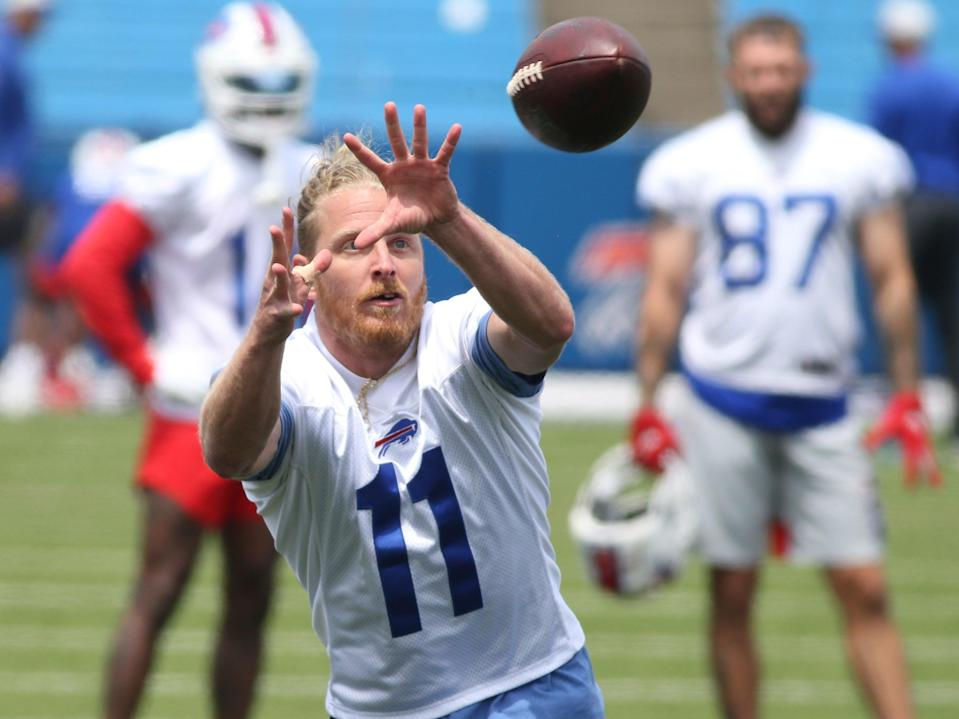 Buffalo Bills wide receiver Cole Beasley (11) makes a catch during NFL football practice in Orchard Park, NY, Wednesday, June 2, 2021. (AP)