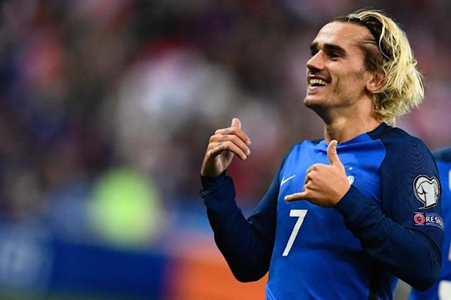 France's forward Antoine Griezmann celebrates after scoring a goal during the FIFA World Cup 2018 qualification football match against Belarus at the Stade de France October 10, 2017 (AFP Photo/CHRISTOPHE SIMON)