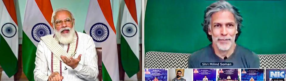 **EDS: SCREENSHOT FROM A VIDEO POSTED BY @narendramodi ON THURSDAY, SEPT. 24, 2020** New Delhi: Prime Minister Narendra Modi virtually interacts with Bollywood actor and fitness enthusiast Milind Soman along with others during Fit India Dialogue on the first anniversary of Fit India Movement, in New Delhi. (PTI Photo)(PTI24-09-2020_000032B)