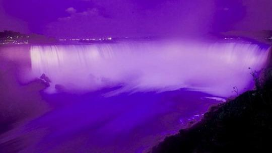"""<p>The falls were lit up in purple in honor of Queen Elizabeth's 90th birthday, but it took on a new meaning after the """"Raspberry Beret"""" singer passed. """"Last night's purple Niagara Falls meant different things to different people & that is okay,"""" the @NiagaraParks Twitter handle posted. <i>(Photo: Twitter)</i></p>"""