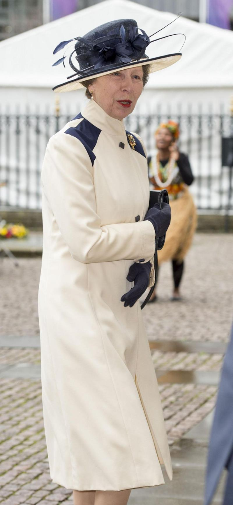 While the designer of Princess Anne's outfit isn't known, she's definitely gotten enough wear out of it, with its latest outing only yesterday. Photo: Getty
