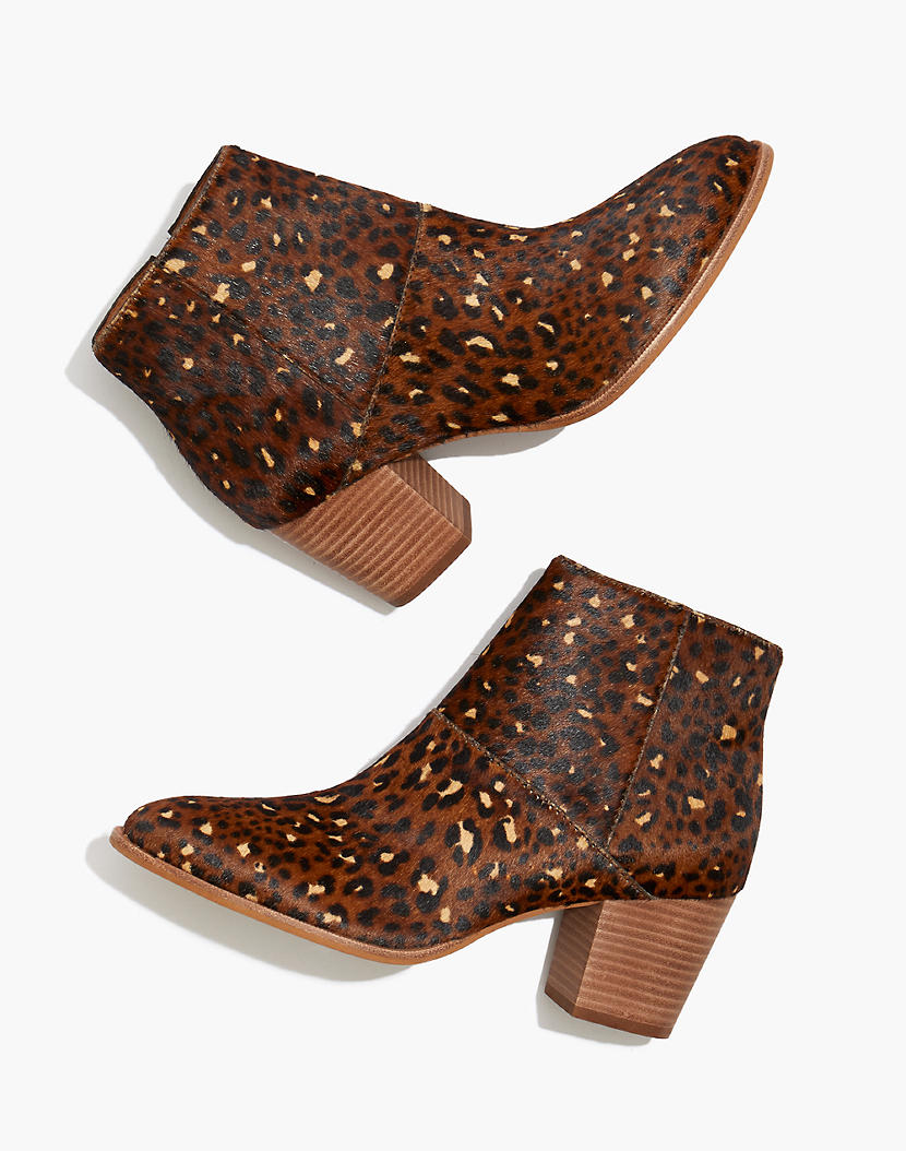 """<h3>Animal Effect</h3><br>Tigers, cows, snakes; oh my! Use a jungle-inspired print or texture to add a layer of interest to more classic ensembles or throw caution to the wind and go for a full-on print mash-up.<br><br><strong>Madewell</strong> The Rosie Ankle Boot, $, available at <a href=""""https://go.skimresources.com/?id=30283X879131&url=https%3A%2F%2Fwww.madewell.com%2Fthe-rosie-ankle-boot-in-leopard-calf-hair-MA433.html"""" rel=""""nofollow noopener"""" target=""""_blank"""" data-ylk=""""slk:Madewell"""" class=""""link rapid-noclick-resp"""">Madewell</a>"""