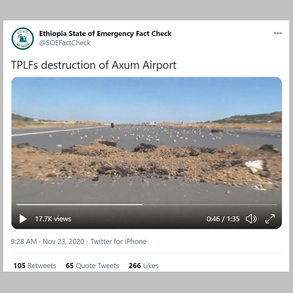 "The Ethiopian government's ""fact-check"" account also published a video of the damage"