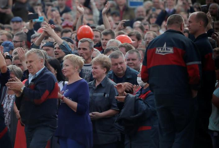 Employees of Minsk Automobile Plant protest against presidential election results in Minsk