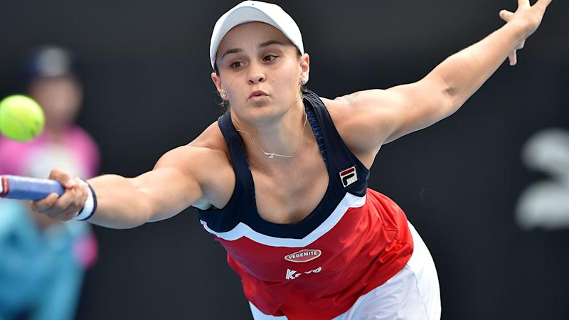 Ashleigh Barty in action. More