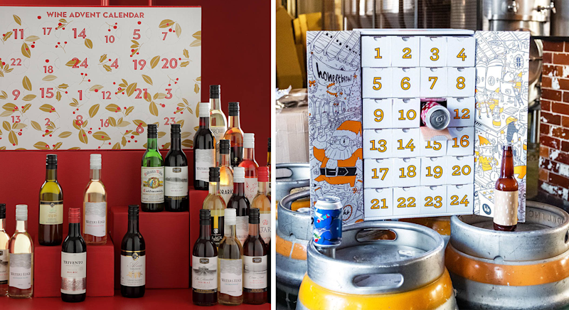 From wine and beer to gin and whiskey, these are the best boozy advent calendars around. [Photo: John Lewis/ Honest Brew]