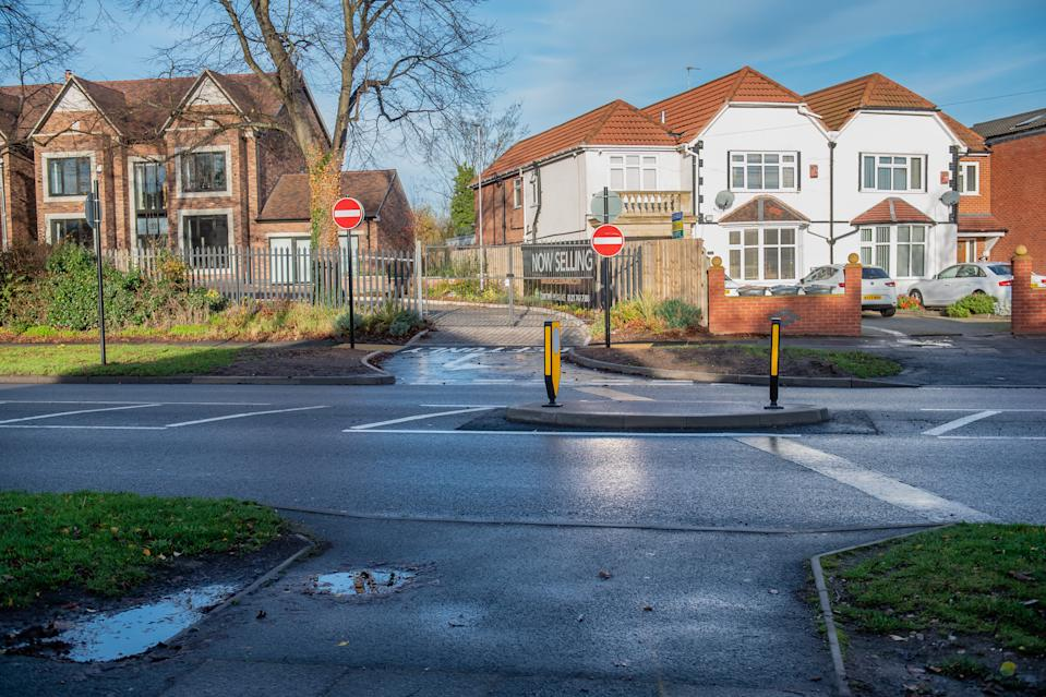 The pedestrian island on Coleshill Road, Hodgehill, Birmingham. (SWNS)