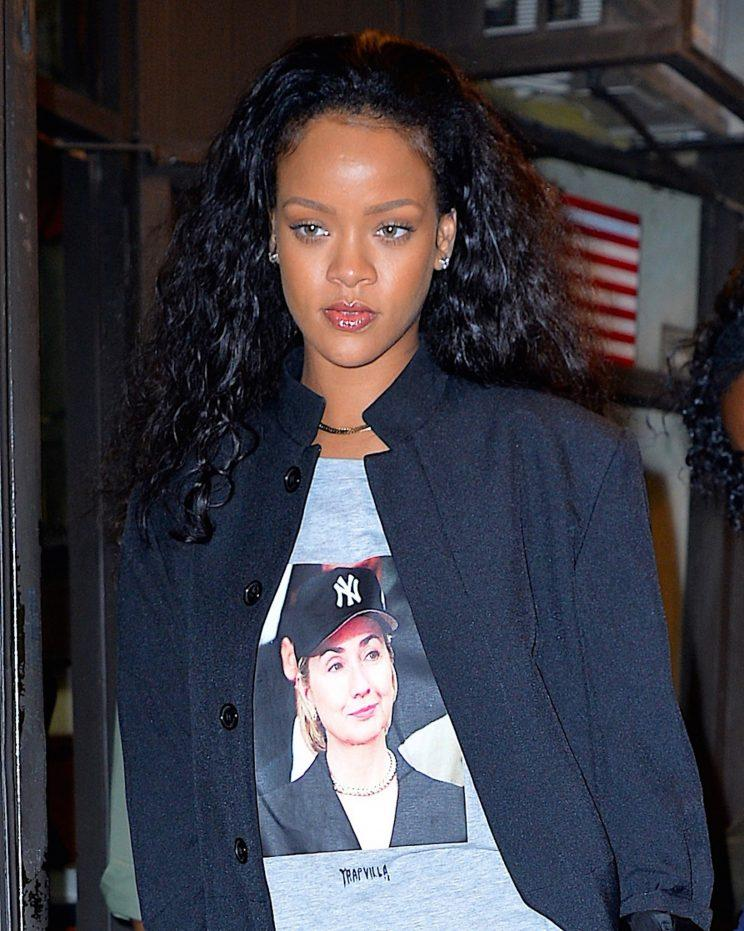Rihanna wore a Hillary Clinton supporter t-shirt in New York City in October. (Photo: Getty Images)