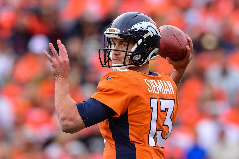 Trevor Siemian is surrounded by high-quality weapons, coming off a bye and facing a winless team. (Photo by Dustin Bradford/Getty Images)