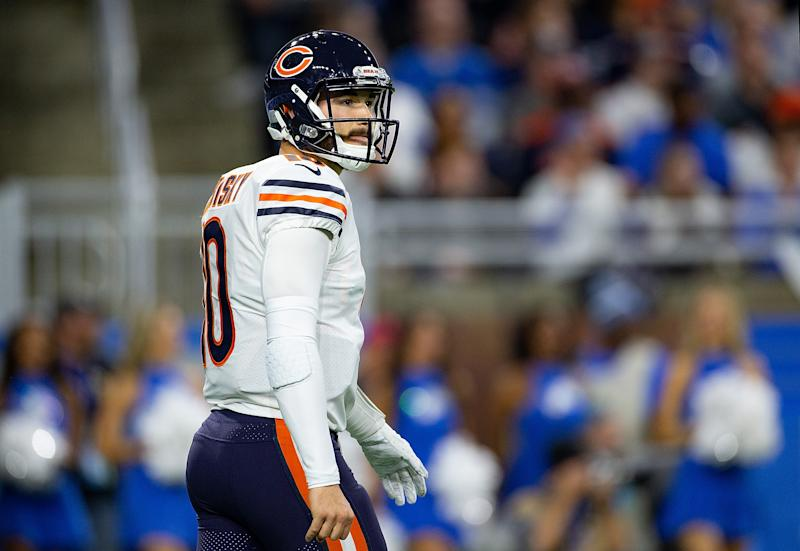 Mitchell Trubisky has led the Chicago Bears to three straight wins, but don't let that cloud your overall judgment of his play. (Photo by Leon Halip/Getty Images)