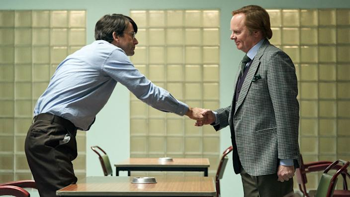 Jason Watkins (right) plays author Brian Masters, who wrote a biography of Nilsen
