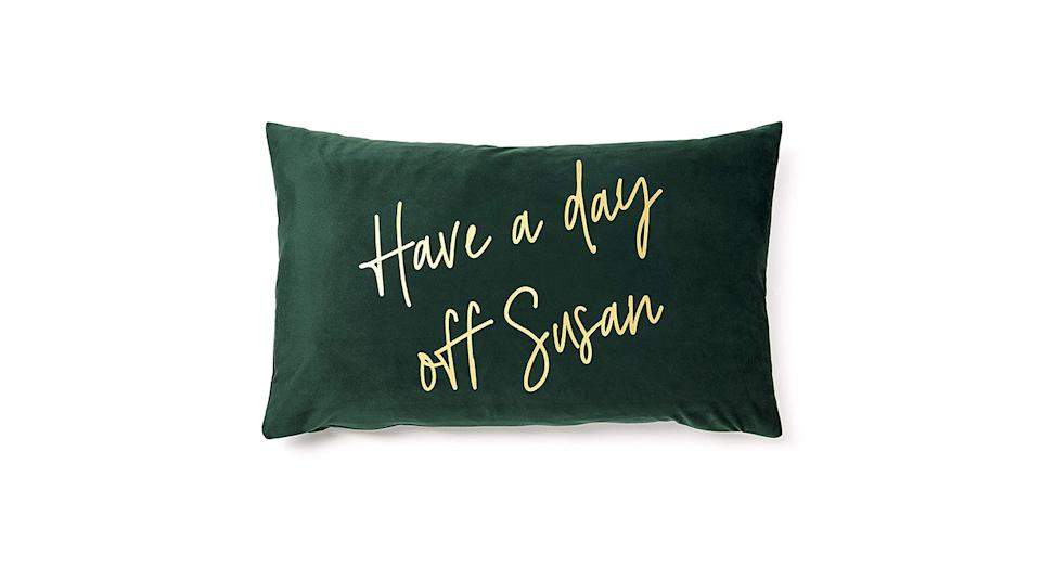 Decorative Have a Day Off Susan Velvet Cushion