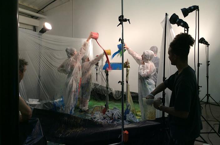 A photo shoot in Ted's studio can get very messy