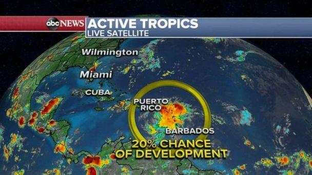 PHOTO: There's a 20% chance of a tropical development forming in the Atlantic. (ABC News)