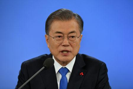 South Korean President Moon Jae-in holds his New Year press conference at the presidential Blue House in Seoul