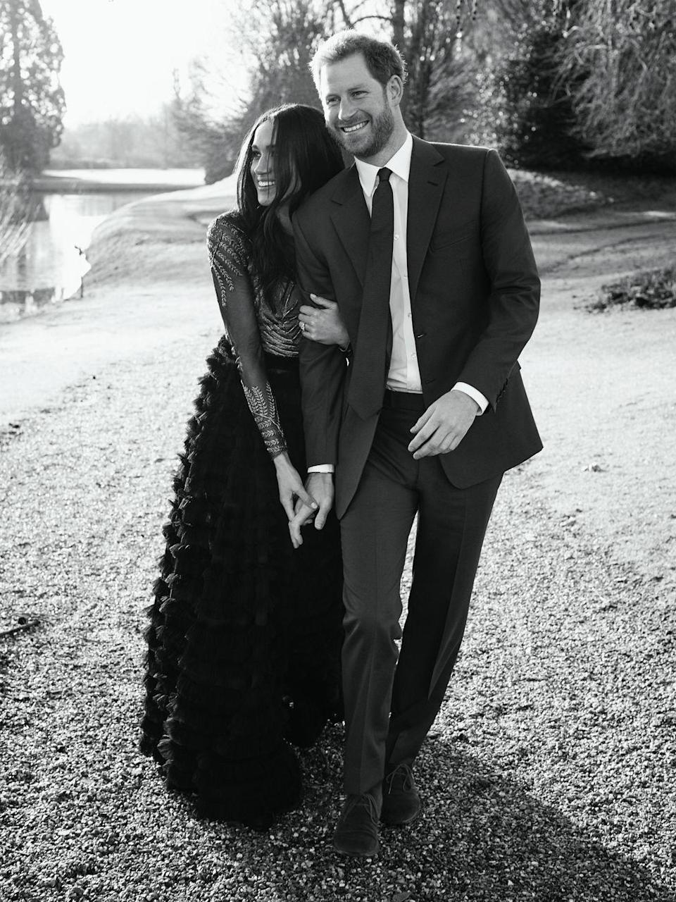 """<p>Meghan wore a gorgeous gown by Ralph & Russo <a href=""""https://www.townandcountrymag.com/society/tradition/a14477448/prince-harry-meghan-markles-engagement-photos/"""" rel=""""nofollow noopener"""" target=""""_blank"""" data-ylk=""""slk:for her official engagement portraits with Prince Harry."""" class=""""link rapid-noclick-resp"""">for her official engagement portraits with Prince Harry.</a> The ball gown is from the luxury designer's fall 2017 couture collection.</p>"""