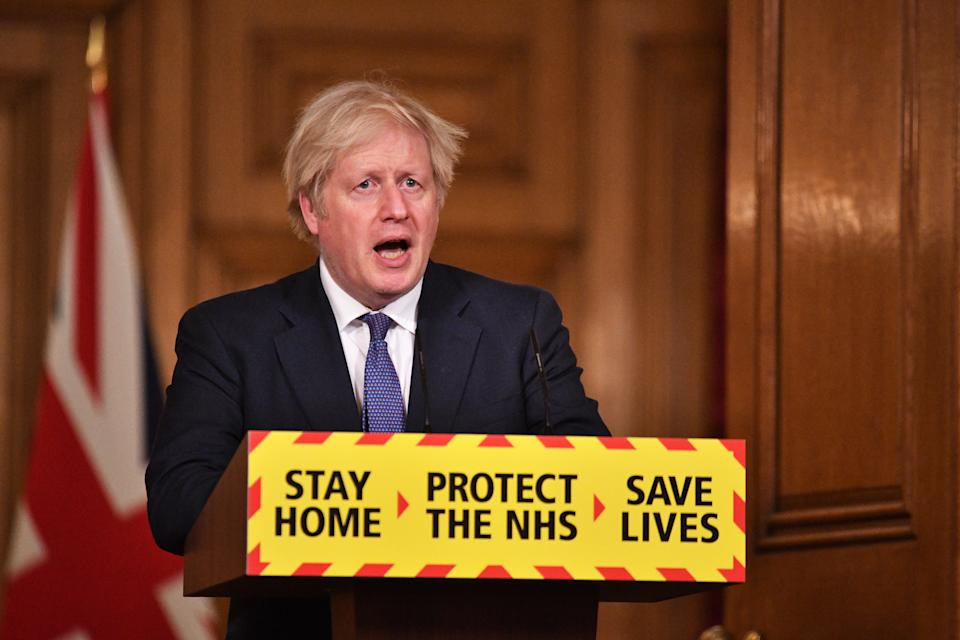 Boris Johnson at Friday's Downing Street press conference. (Dominic Lipinski/PA)