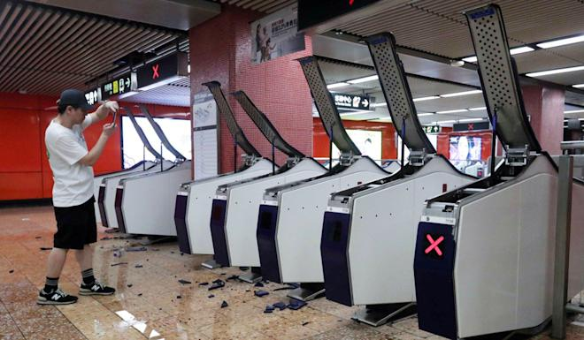 The damage at Mong Kok railway station, which forced its closure. Photo: Edmond So
