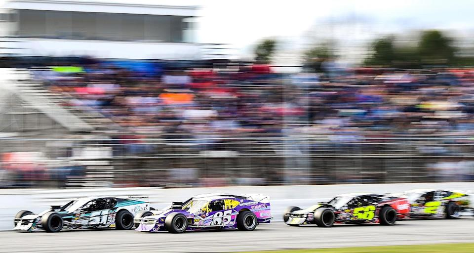 THOMPSON, CT - APRIL 7: Cars race during the NASCAR Whelen Modified Tour Icebreaker 150 on April 7, 2019 at Thompson Speedway Motorsports Park in Thompson, Connecticut. (Adam Glanzman/NASCAR)