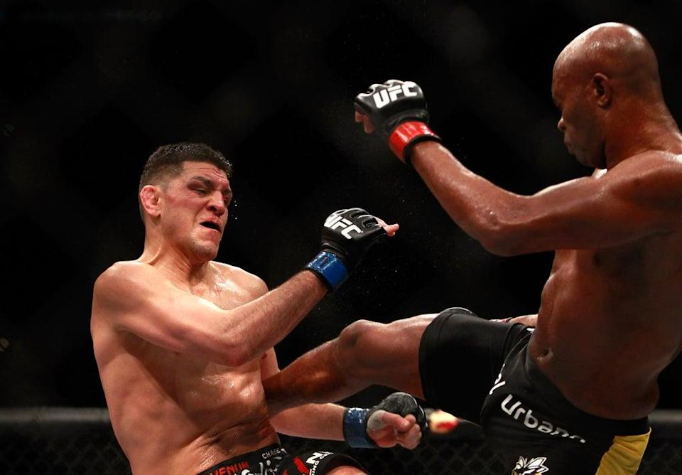 Diaz during his defeat by Silva, which was later overturned to a No Contest (Getty Images)