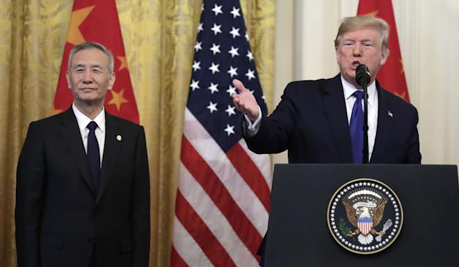 """US President Donald Trump speaking next to Chinese Vice-Premier Liu He before signing a """"phase one"""" trade deal at the White House on Wednesday. Photo: Abaca Press via TNS"""
