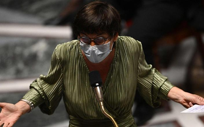 French Seas Minister Annick Girardin speaks in Paris earlier this year - AFP