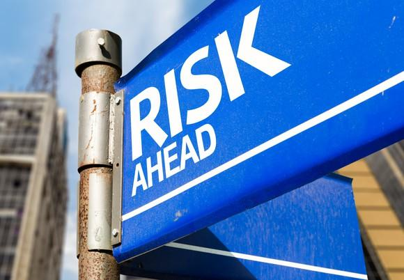 A metal sign board saying risk ahead.