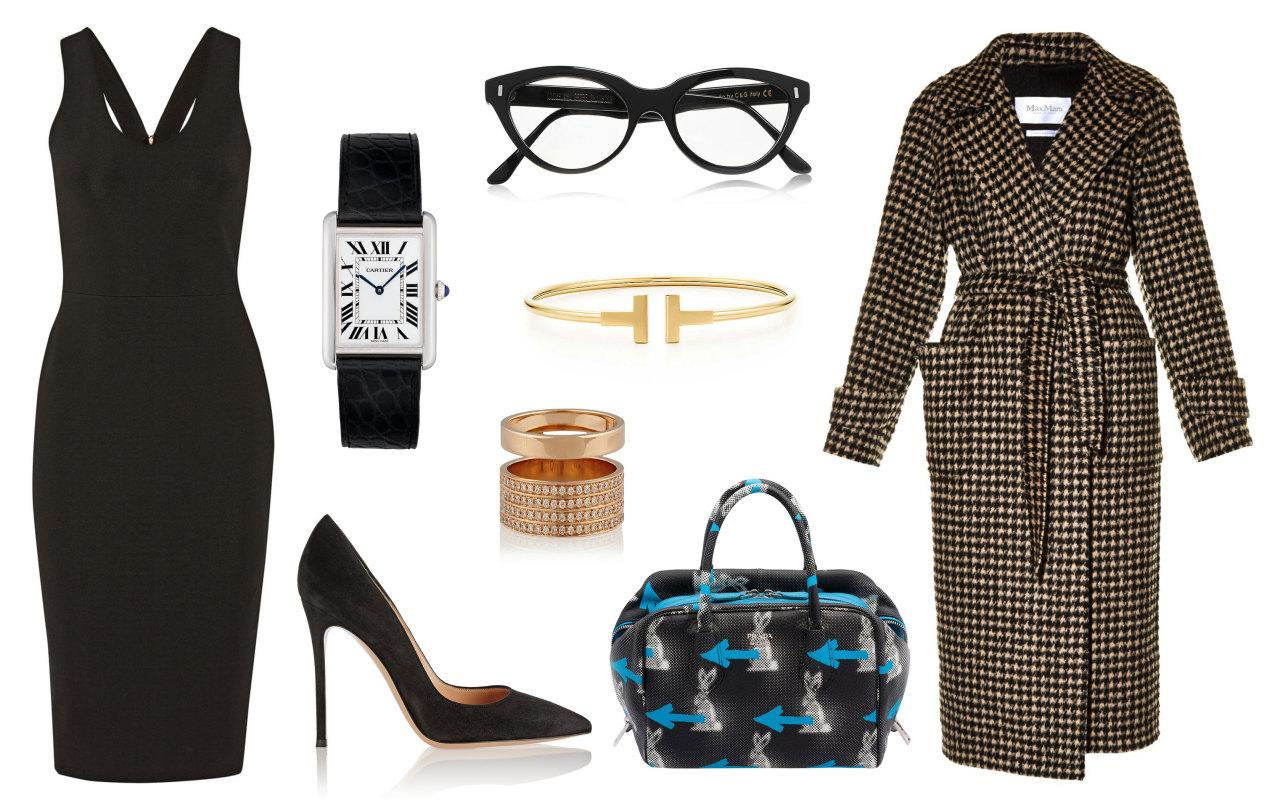 <p>Channel your inner Cookie Lyons with a slinky number by Victoria Beckham. While the Empire star would probably opt to accessorize this with a fur, a houndstooth coat, like this one from the Italian fashion house Max Mara will give off more of an elegant vibe. Stylish intelligentsia will want to tote the latest Prada bag while making sure they're not late for their next appointment by sporting a classic Cartier watch. The takeaway here? No need to add lots of bells and whistles to your ensemble. The silhouette of this dress speaks volumes! Keep the rest classic. </p>