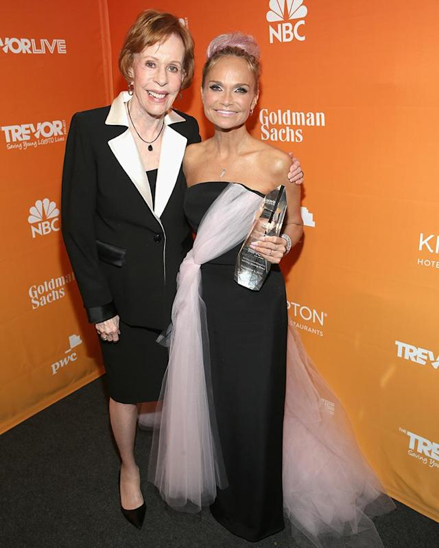 <p>At the Trevor Project's fundraising gala Sunday in L.A., comedy legend Burnett was on hand as Chenoweth accepted the Icon Award. The Emmy- and Tony-winning actress, singer, and author was celebrated as a role model and supporter for LGBTQ youth. (Photo: Phillip Faraone/Getty Images for The Trevor Project) </p>