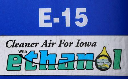 A gas pump selling E15, a gasoline with 15 percent of ethanol, is seen in Mason City