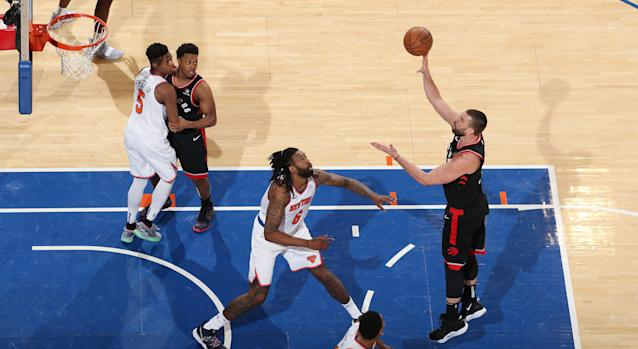 Marc Gasol takes a shot in his debut with the Toronto Raptors against the New York Knicks on Saturday night. (Photo by Nathaniel S. Butler/NBAE via Getty Images)