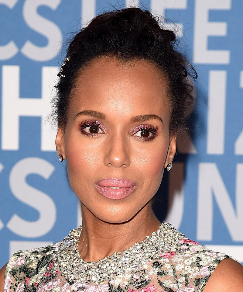 <p>Pink is <em>oh </em>so powerful. That's our takeaway after seeing the eyeshadow color on designer runways from Anna Sui to Jeremy Scott. It's been a red carpet hit for a few months now, and it's not going away anytime soon. Copy Kerry Washington, go monochromatic, and pair it with a matching lipstick shade. </p>