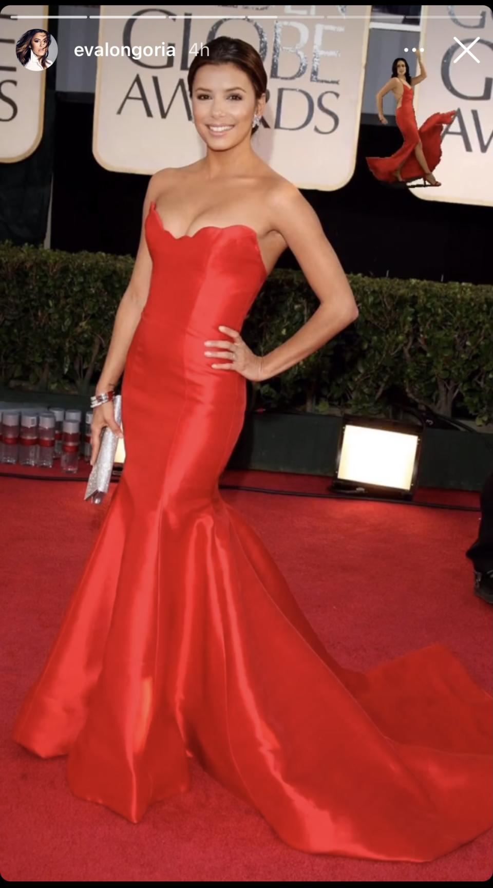 <p>For her fourth pick, Longoria threw things back to her 2009 Golden Globes red carpet appearance. Her strapless Reem Acra gown hugged every curve, and with its vibrant red hue, Longoria looked like the perfect embodiment of everyone's favourite dancing emoji. Image via Instagram/EvaLongoria.</p>