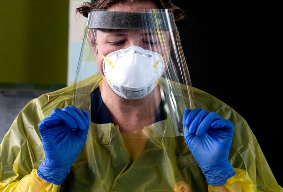 A nurse working at St Vincents Hospital's new Covid-19 testing clinic at East Sydney Community and Arts Centre, Darlinghurst on 17th April 2020. (Photo Louise Kennerley via Getty)