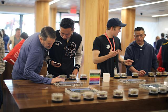 <p>Recreational marijuana is displayed for sale at the MedMen store in West Hollywood, Calif., Jan. 2, 2018. (Photo: Lucy Nicholson/Reuters) </p>