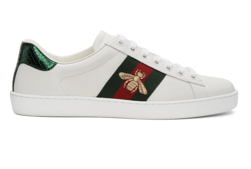 Gucci White Bee New Ace Sneakers. (PHOTO: SSense)