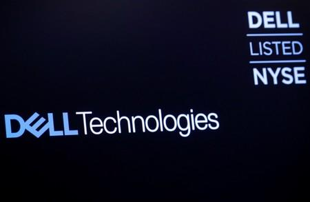 The logo for Dell Technologies Inc. is displayed on a screen on the floor of the New York Stock Exchange (NYSE) in New York