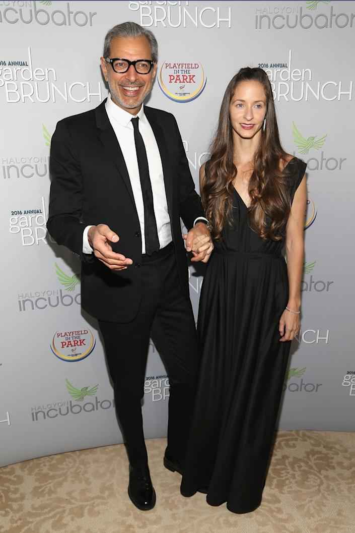 <p>Actor Jeff Goldblum and dancer Emilie Livingston attend the Garden Brunch prior to the 102nd White House Correspondents' Dinner, April 30.<i> (Photo: Paul Morigi/WireImage)</i></p>