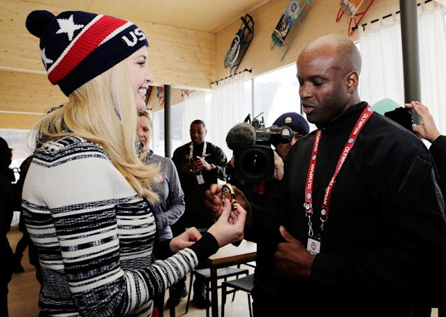<p>Ivanka Trump presents Garrett Hines with a medal from her father while visiting the USA House on February 24, 2018 in Pyeongchang-gun, South Korea. (Photo by Marianna Massey/Getty Images) </p>