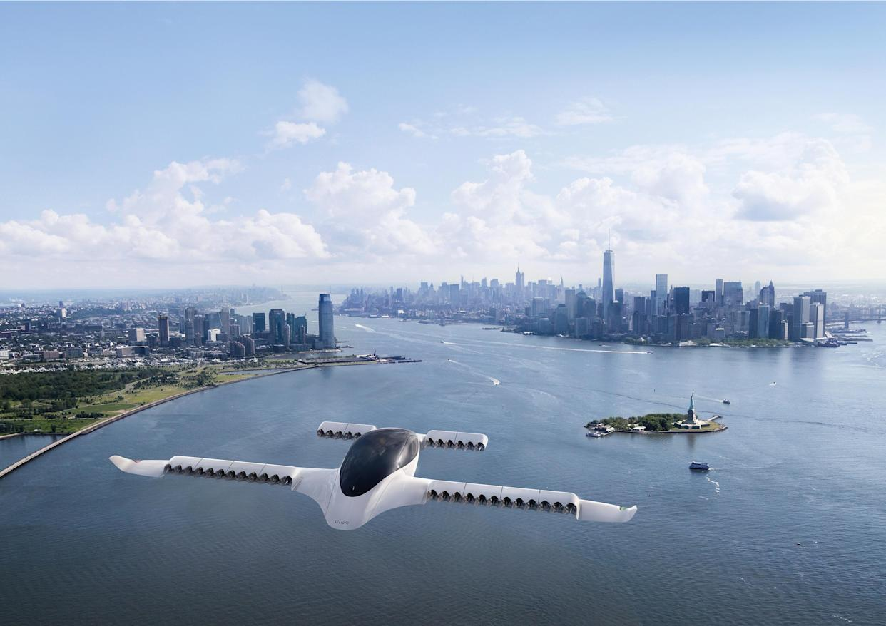 New York - Manhattan overview from the Lilium Jet, a five-seater fully electric air taxi. (Source: Lilium)