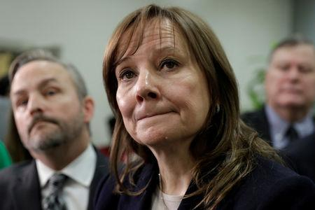 FILE PHOTO: General Motors (GM) Chairman and CEO Mary T. Barra speaks to media after a meeting with Michigan Congressional delegation on Capitol Hill in Washington, U.S.,  on Dec. 6, 2018. REUTERS/Yuri Gripas/File Photo