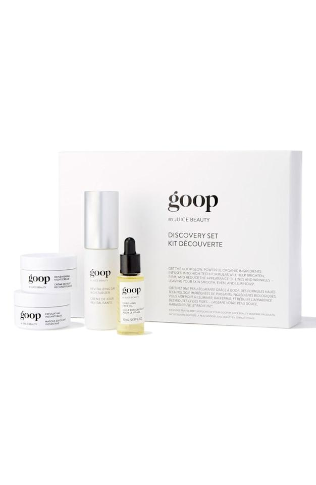 "<p>Interested in testing out Goop skin care? This <a rel=""nofollow"" href=""https://www.popsugar.com/buy/Goop%20by%20Juice%20Beauty%20Skin%20Care%20Discovery%20Set-420864?p_name=Goop%20by%20Juice%20Beauty%20Skin%20Care%20Discovery%20Set&retailer=shop.nordstrom.com&price=125&evar1=bella%3Aus&evar9=45906044&evar98=https%3A%2F%2Fwww.popsugar.com%2Fbeauty%2Fphoto-gallery%2F45906044%2Fimage%2F45906069%2FGoop-Juice-Beauty-Skin-Care-Discovery-Set&list1=shopping%2Cnordstrom%2Cbeauty%20products%2Cbeauty%20shopping%2Cclean%20beauty&prop13=api&pdata=1"" rel=""nofollow"">Goop by Juice Beauty Skin Care Discovery Set</a> ($125) should be your starting point.</p>"