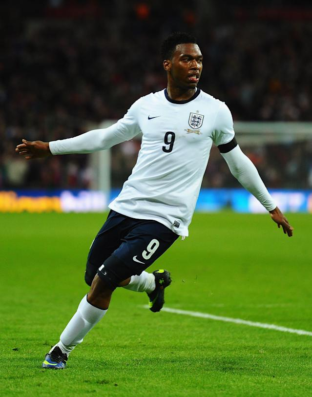 LONDON, ENGLAND - MARCH 05: Daniel Sturridge of England celebrates his goal during the International Friendly match between England and Denmark at Wembley Stadium on March 5, 2014 in London, England. (Photo by Laurence Griffiths/Getty Images)
