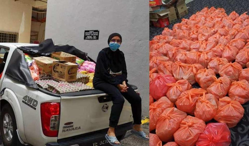 Dr Nur Hidayah Abu Bakar deliversessential goods to over 350 families in need during MCO — Picture courtesy of Dr Nur Hidayah Abu Bakar